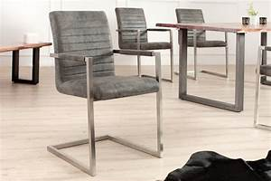 Stühle Grau Leder : freischwinger stuhl imperial vintage grau mit gepolsterten armlehnen und edelstahlgestell ~ Watch28wear.com Haus und Dekorationen