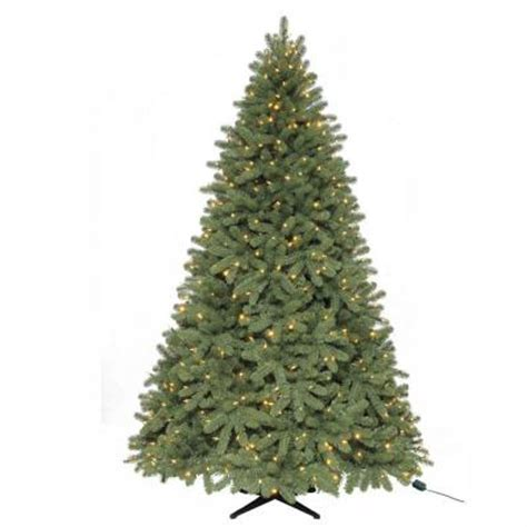 martha stewart living 7 5 ft pre lit led downswept denison spruce quick set artificial