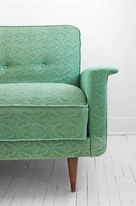 On hold until april 26th vintage sea foam green sofa for Mint green sectional sofa
