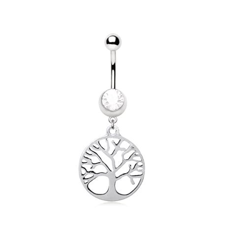stainless steel tree  life dangle belly bar