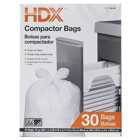 Home Depot Kitchen Garbage Bags by Hdx 18 Gal Compactor White Trash Bags 30 Count Hdx