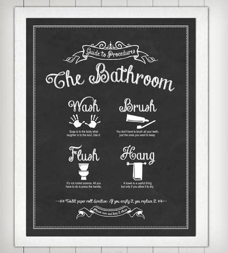 Guide To Procedures Bathroom Print  Art Prints & Posters