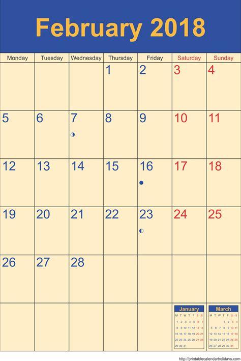 february calendar template portrait printable