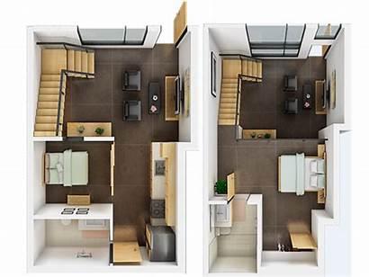 Loft Floor Plan Plans Apartment 3d Denah