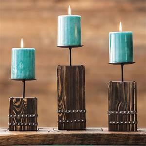 southwest, wood, candle, holder, set