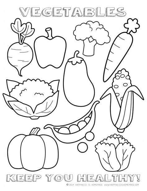 """Healthy Vegetables Coloring Page Sheet - printable """"I"""