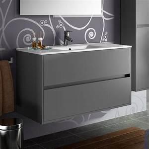 meuble salle de bain 100 cm 2 tiroirsvasque porcelaine With plan vasque salle de bain 100 cm