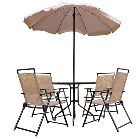 patio table with 6 chairs bistro set 6 piece table chairs outdoor patio aosom