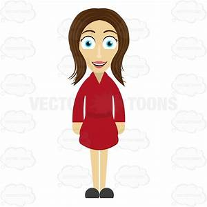 Friendly Looking Woman Standing Straight Cartoon Clipart ...