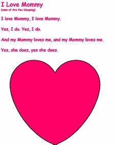 mother's day songs, variation: last line can be sung ...