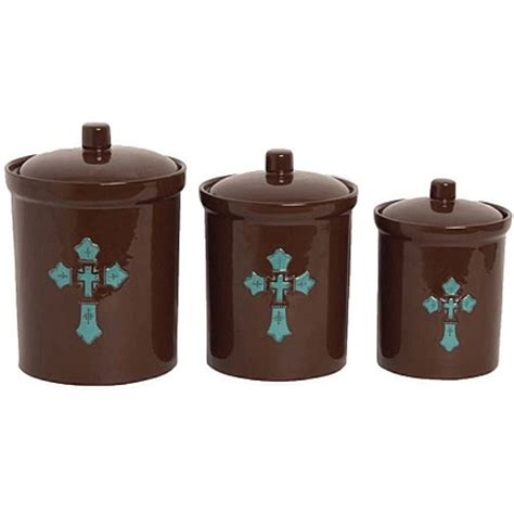 Turquiose Cross Western Decor Kitchen Canister Set