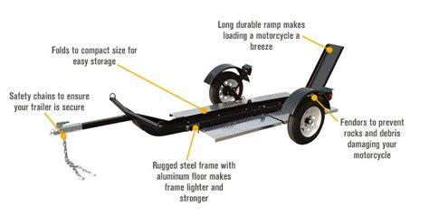 Ultra-tow Single-rail Folding Motorcycle Trailer