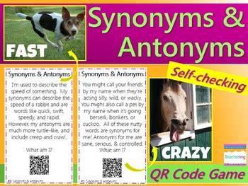 Synonym & Antonym Task Cards With Qr Codes Free By