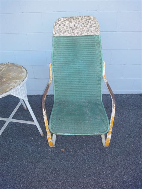 1920 s wrought iron and wicker rocker bouncy chair patio