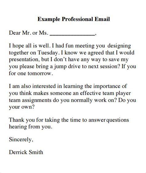 professional email format 14 sle emails sle templates