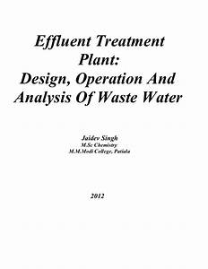 Effluent Treatment Plant Design  Operation And Analysis Of