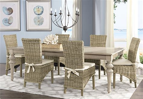 key west sand beige  pc rectangle dining room