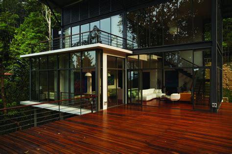 patio doors terrace living space modern hillside home