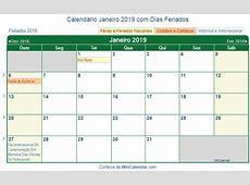 Calendário Janeiro 2019 para imprimir Brasil