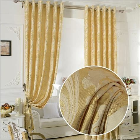 aubre jacquard window curtains heavy fabric  gold