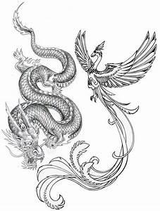 Amazing Grey Ink Phoenix & Dragon Tattoo Design