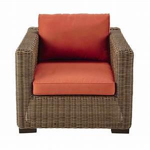 fauteuil de jardin en resine tressee et tissu rouge brique With tapis rouge avec canapé resine tressée