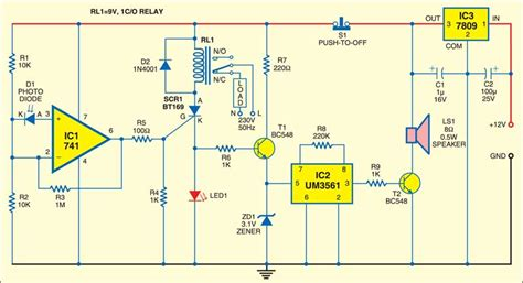 Photodiode Based Fire Detector Detailed Circuit Diagram