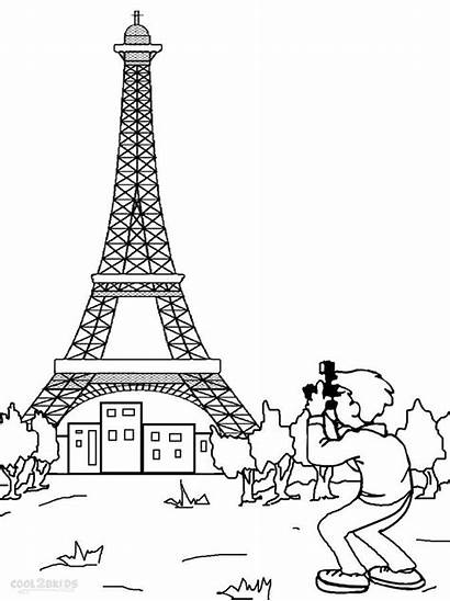 Eiffel Tower Coloring Pages Paris Printable Drawing
