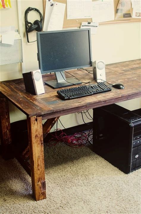 desk ideas 16 ideas for a useful pallet desk from recycled pallets pallet furniture plans