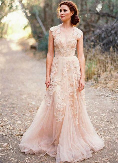 blush lace wedding dresses 2015 a line bridal gowns