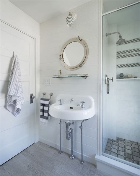 Bathroom Mirror Vintage by White Wainscoting Bath With Vintage Sink And Porthole