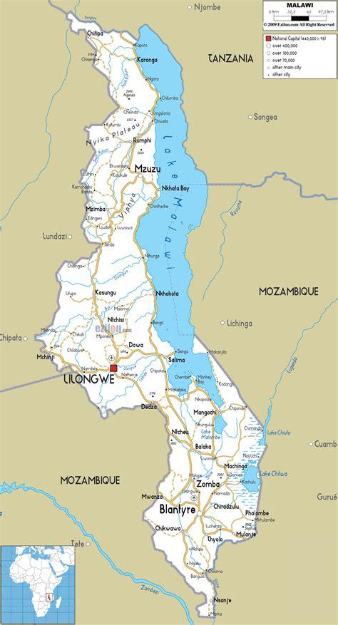detailed clear large road map  malawi ezilon maps