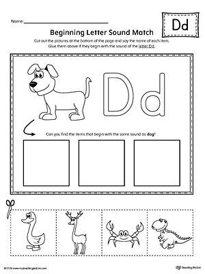 Letter D Beginning Sound Picture Match Worksheet Myteachingstationcom