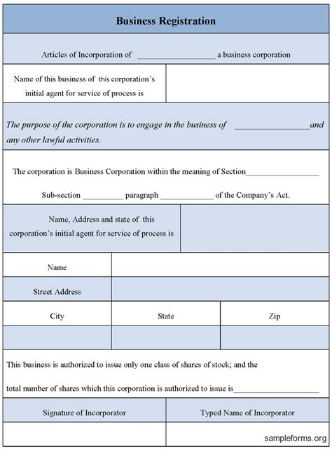 Business Template Business Form Sle Business Form Templates