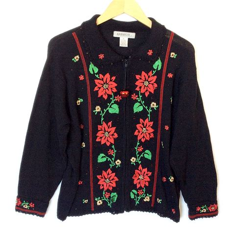 embroidered poinsettia tacky ugly christmas sweater the