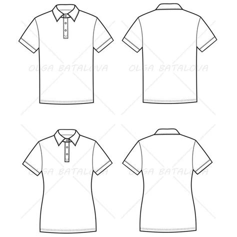 embroider polo shirt template women s and men s polo t shirt fashion flat templates