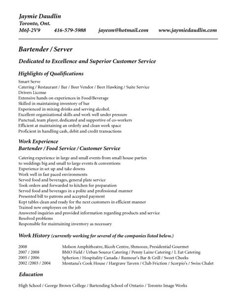 bar owner resume bar server resume sle server resume