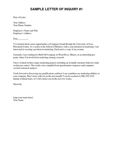 professional inquiry letter sample  job opportunity
