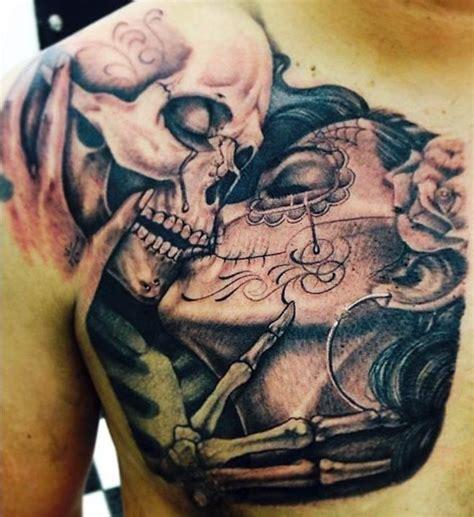 death   part shoulder skeletons kissing