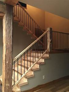 Stairwell Rustic Design Using  5 Balusters  All Material