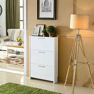 White, Ultra, Thin, Paint, Tipping, Shoe, Rack, Simple, Minimalist, Cabinet, Entrance, Foyer, Year