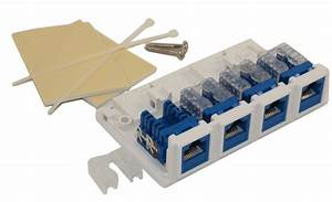 Wall Plate  Surface Block  Biscuit Jack  Cat5e Rj45 4 Port