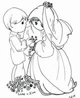 Precious Moments Pages Couple Wedding Cute Cartoon Coloring Template Sketch Templates Real sketch template
