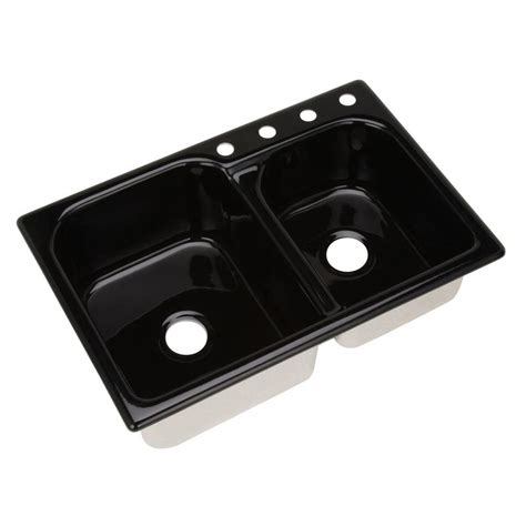 thermocast black kitchen sinks thermocast cambridge drop in acrylic 33 in 4