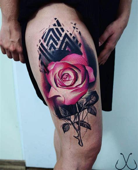pink rose black pattern  girls thigh  tattoo design ideas