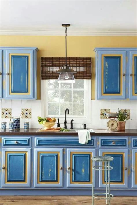 blue and yellow kitchen home