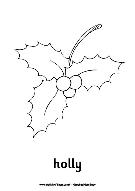 christmas holly coloring pages getcoloringpagescom
