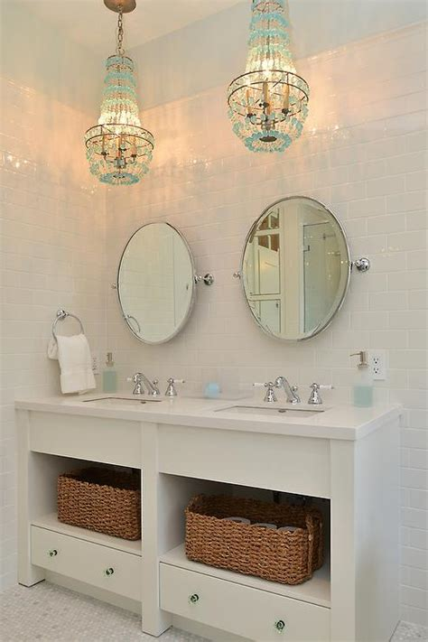 turquoise beaded chandelier  bathroom vanity cottage