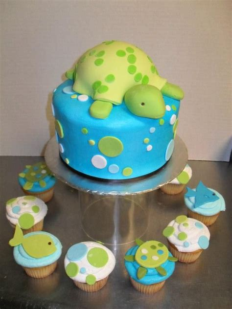 Turtles Baby Shower Theme by Turtle Baby Shower Cake And Themed Cupcakes By