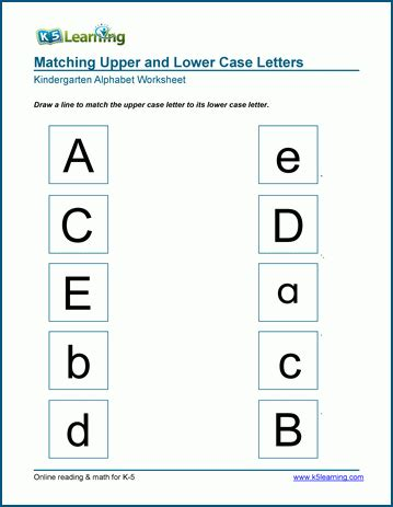 Uppercase And Lowercase Letters Worksheets For Kindergarten  K5 Learning